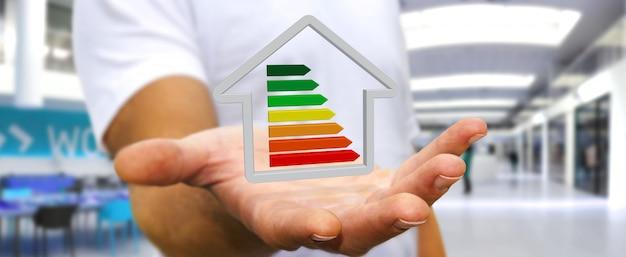 Homem negócios, segurando, 3d, eco, casa, e, energia, eficiência