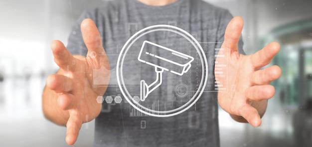 Homem negócios, segurando, câmera segurança, sistema, ícone, e, estatísticas, dados