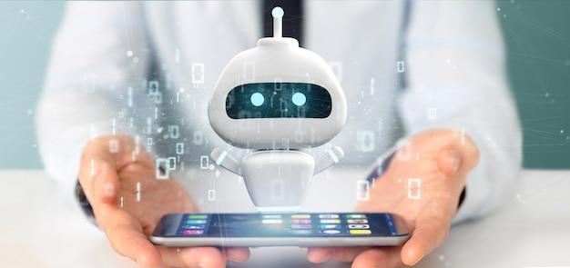 Homem negócios, segurando, chatbot, com, código binário, 3d, fazendo