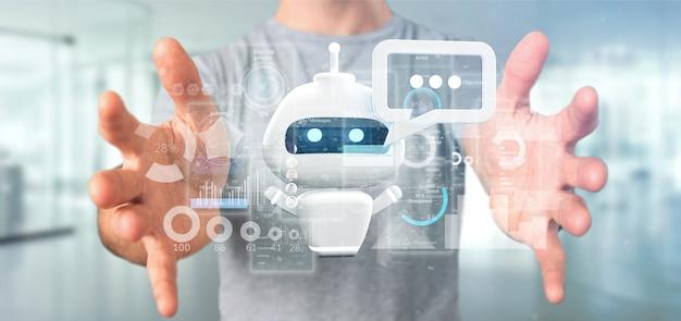 Homem negócios, segurando, chatbot, com, código binário, mensagem, e, dados, 3d, fazendo