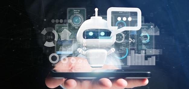 Homem negócios, segurando, chatbot, com, código binário, mensagem, e, dados