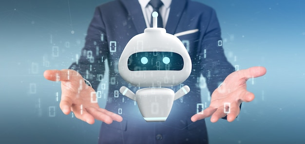 Homem negócios, segurando, chatbot, com, código binário