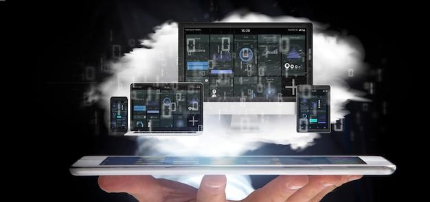 Homem negócios, segurando, dispositivos, conectado, para, um, nuvem, multimedia, rede, 3d, fazendo