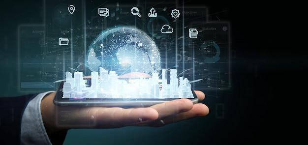 Homem negócios, segurando, esperto, cidade, usuário, interface, com, ícone, stats, e, dados, 3d, fazendo
