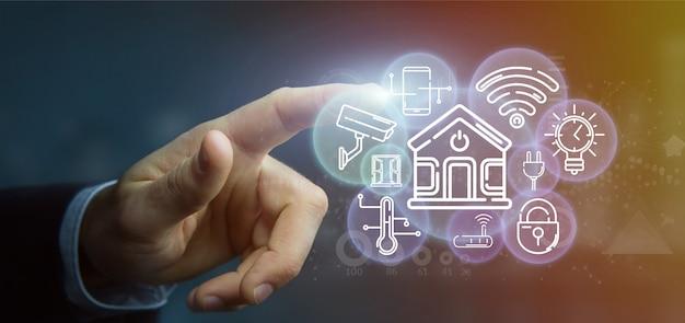 Homem negócios, segurando, esperto, lar, interface, com, ícone, stats, e, dados, 3d, fazendo