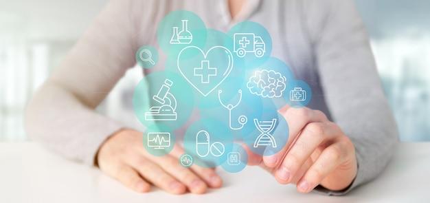 Homem negócios, segurando, médico, ícone, e, conexão, 3d, fazendo