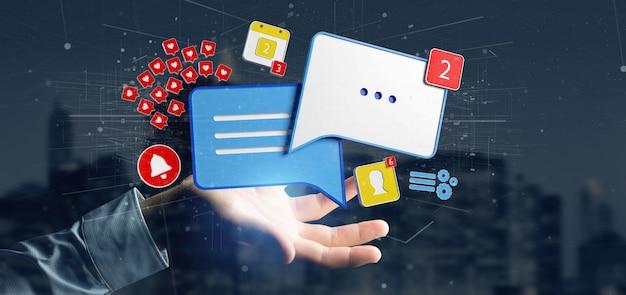 Homem negócios, segurando, mensagem, e, notificações, de, social, mídia, 3d, fazendo
