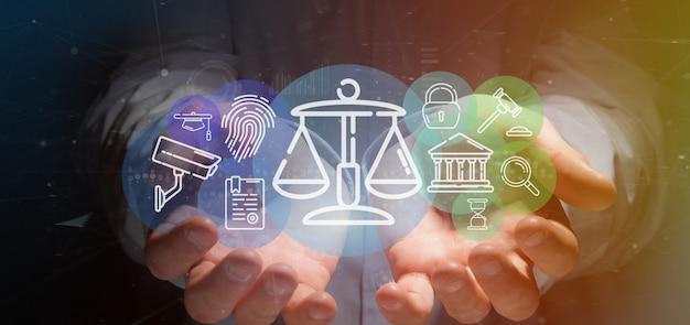 Homem negócios, segurando, nuvem justiça, e, lei ícone, bolha, com, dados, 3d, fazendo