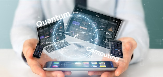 Homem negócios, segurando, quantum, computando, conceito, com, qubit, e, dispositivos, 3d, fazendo