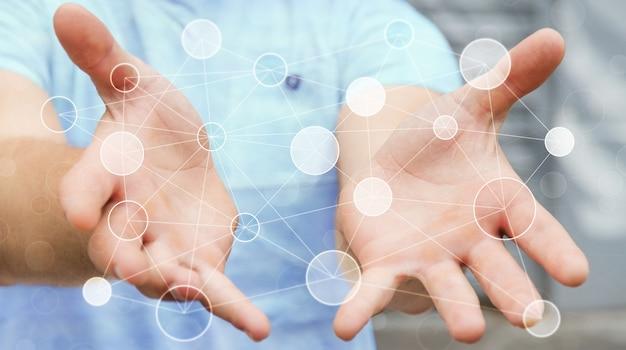Homem negócios, segurando, rede dados digitais, em, seu, mão, 3d, fazendo