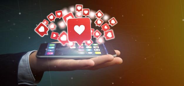 Homem negócios, segurando, semelhante, notificação, ligado, um, social, mídia, 3d, fazendo