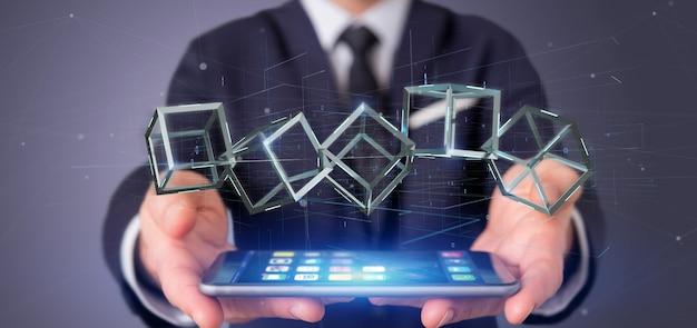Homem negócios, segurando, um, 3d, fazendo, blockchain, cubo, isolado, ligado, um