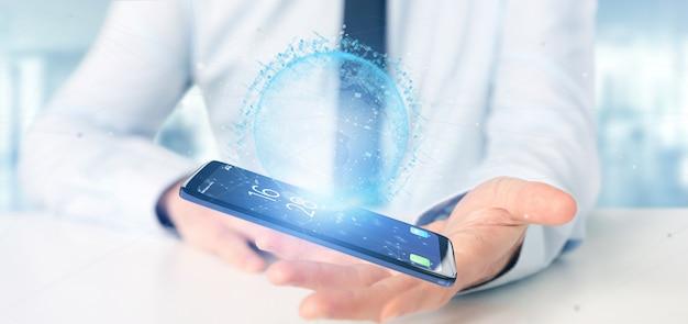 Homem negócios, segurando, um, 3d, fazendo, dados, terra, globo, ligado, um, smartphone