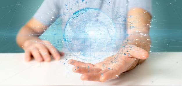 Homem negócios, segurando, um, 3d, fazendo, dados, terra, globo