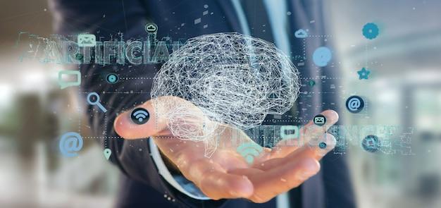 Homem negócios, segurando, um, 3d, fazendo, inteligência artificial, conceito, com, um, cérebro, e, app