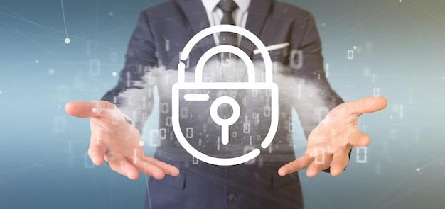 Homem negócios, segurando, um, binário, nuvem, com, internet, segurança, padlock, 3d, fazendo
