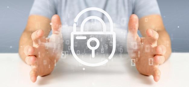 Homem negócios, segurando, um, binário, nuvem, com, internet, segurança, padlock