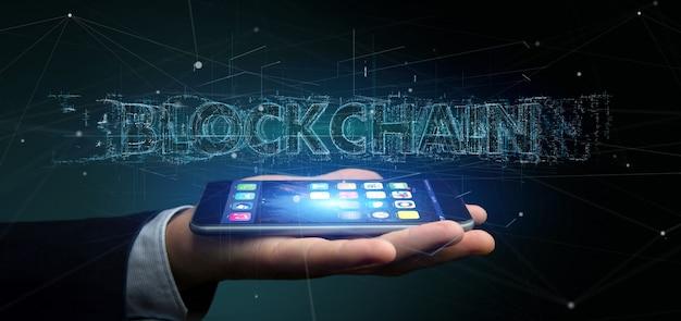 Homem negócios, segurando, um, blockchain, título, isolado