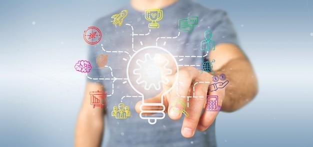 Homem negócios, segurando, um, bulbo, lâmpada, idéia, conceito, com, arranque, ícone, conectado, 3d, fazendo