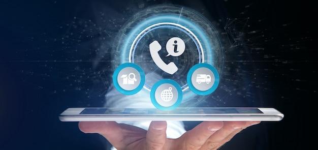Homem negócios, segurando, um, cliente, e, assistência, hotline, serviço, 3d, fazendo