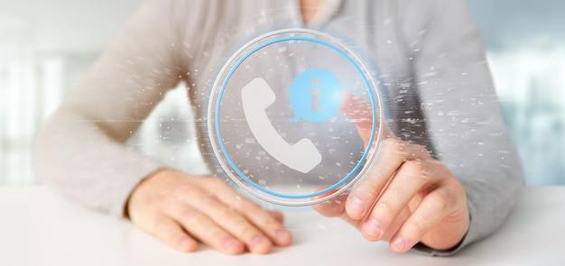 Homem negócios, segurando, um, cliente, e, assistência, hotline, serviço, botão