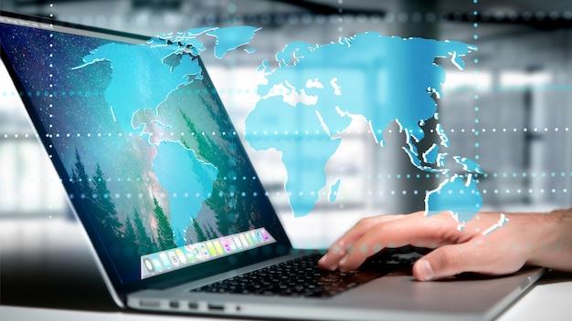 Homem negócios, segurando, um, conectado, mapa mundial, ligado, um, futurista, interface