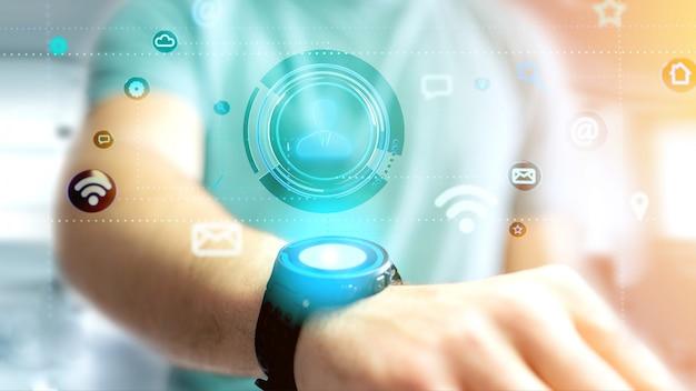 Homem negócios, segurando, um, contato, ícone, cercar, por, app, e, social, ícone, 3d, render