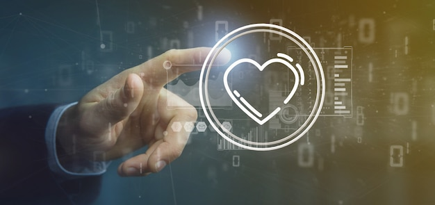 Homem negócios, segurando, um, coração, ícone, cercado, por, dados
