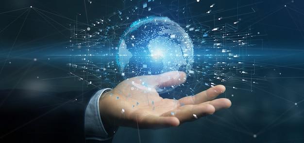 Homem negócios, segurando, um, dados, terra, globo