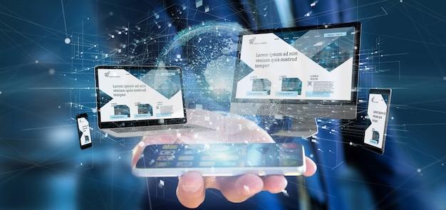 Homem negócios, segurando, um, dispositivos, conectado, para, um, global, negócio, rede, 3d, fazendo