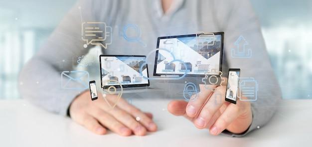Homem negócios, segurando, um, dispositivos, conectado, para, um, nuvem, multimedia, rede, 3d, fazendo