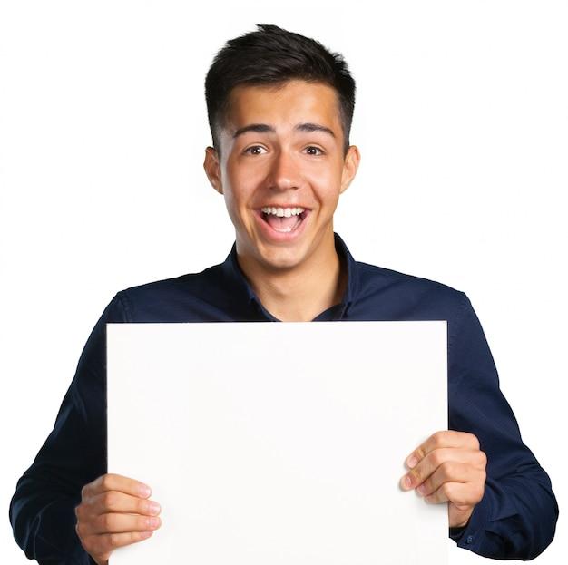 Homem negócios, segurando, um, em branco, signboard