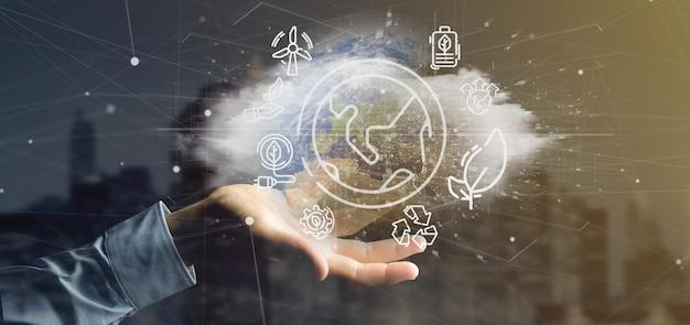 Homem negócios, segurando, um, globo mundial, surronding, por, ecologia, ícones, e, conexão
