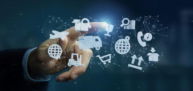 Homem negócios, segurando, um, logística, organização, com, ícone, e, conexão