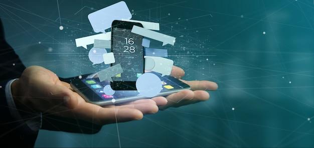 Homem negócios, segurando, um, mensagens, bolhas, cercar, um, smartphone, 3d, fazendo