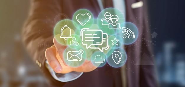 Homem negócios, segurando, um, nuvem, de, social, mídia, rede, ícone