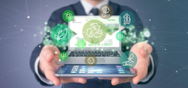 Homem negócios, segurando, um, nuvem, de, verde, ecologia ícone, bolha, com, um, laptop, 3d, fazendo