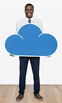 Homem negócios, segurando, um, nuvem, ícone