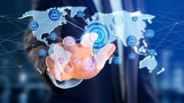 Homem negócios, segurando, um, rede, sobre, um, conectado, mapa mundial, -, 3d, render