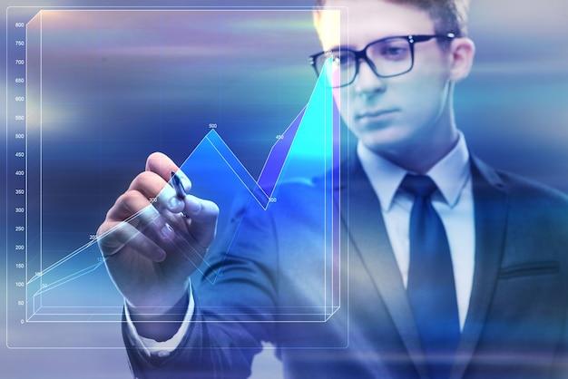 Homem negócios, trabalhando, com, gráfico