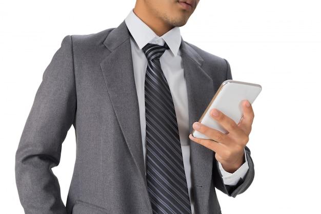 Homem negócios, trabalhando, com, smartphone