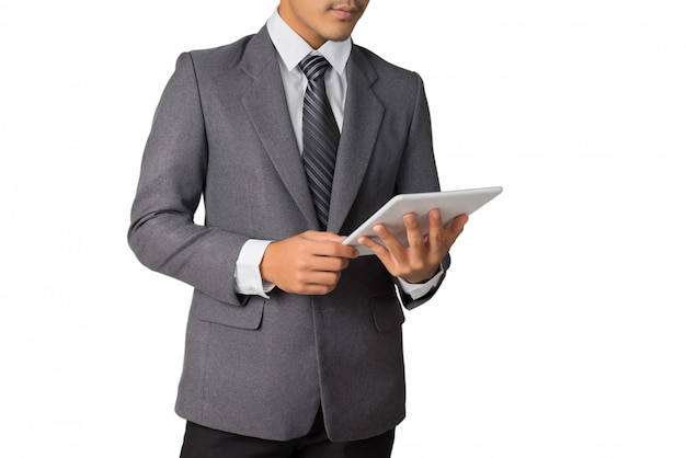 Homem negócios, trabalhando, com, tabuleta