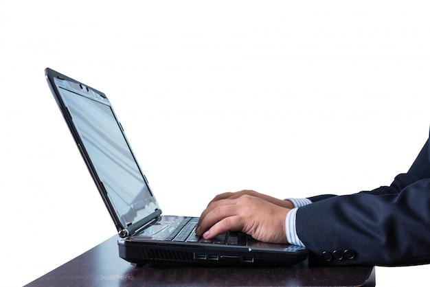 Homem negócios, trabalhando, em, caderno, ligado, tabela madeira