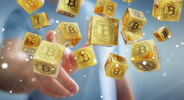 Homem negócios, usando, bitcoins, cryptocurrency, 3d, fazendo