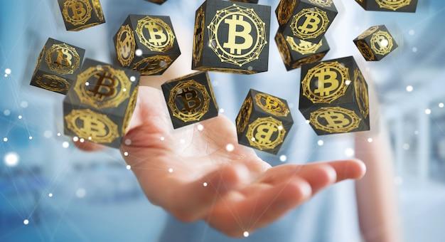 Homem negócios, usando, bitcoins, cryptocurrency