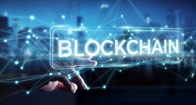 Homem negócios, usando, blockchain, cryptocurrency, interface, 3d, fazendo
