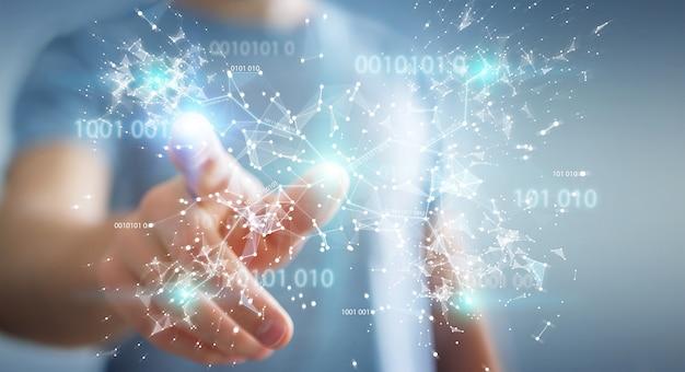 Homem negócios, usando, digital, código binário, conexão, rede