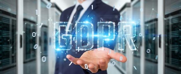 Homem negócios, usando, digital, gdpr, interface