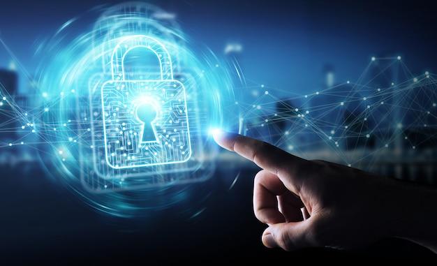 Homem negócios, usando, digital, padlock, com, proteção dados, 3d, fazendo