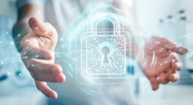 Homem negócios, usando, digital, padlock, com, proteção dados